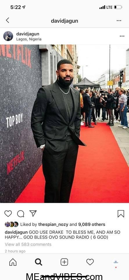 "Drake Finally replies Nigerian Superfan on Instagram: ""I am flying you to a show ASAP, you going too hard"""