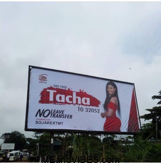 Thugs Pull Down Tacha's Billboard In Owerri